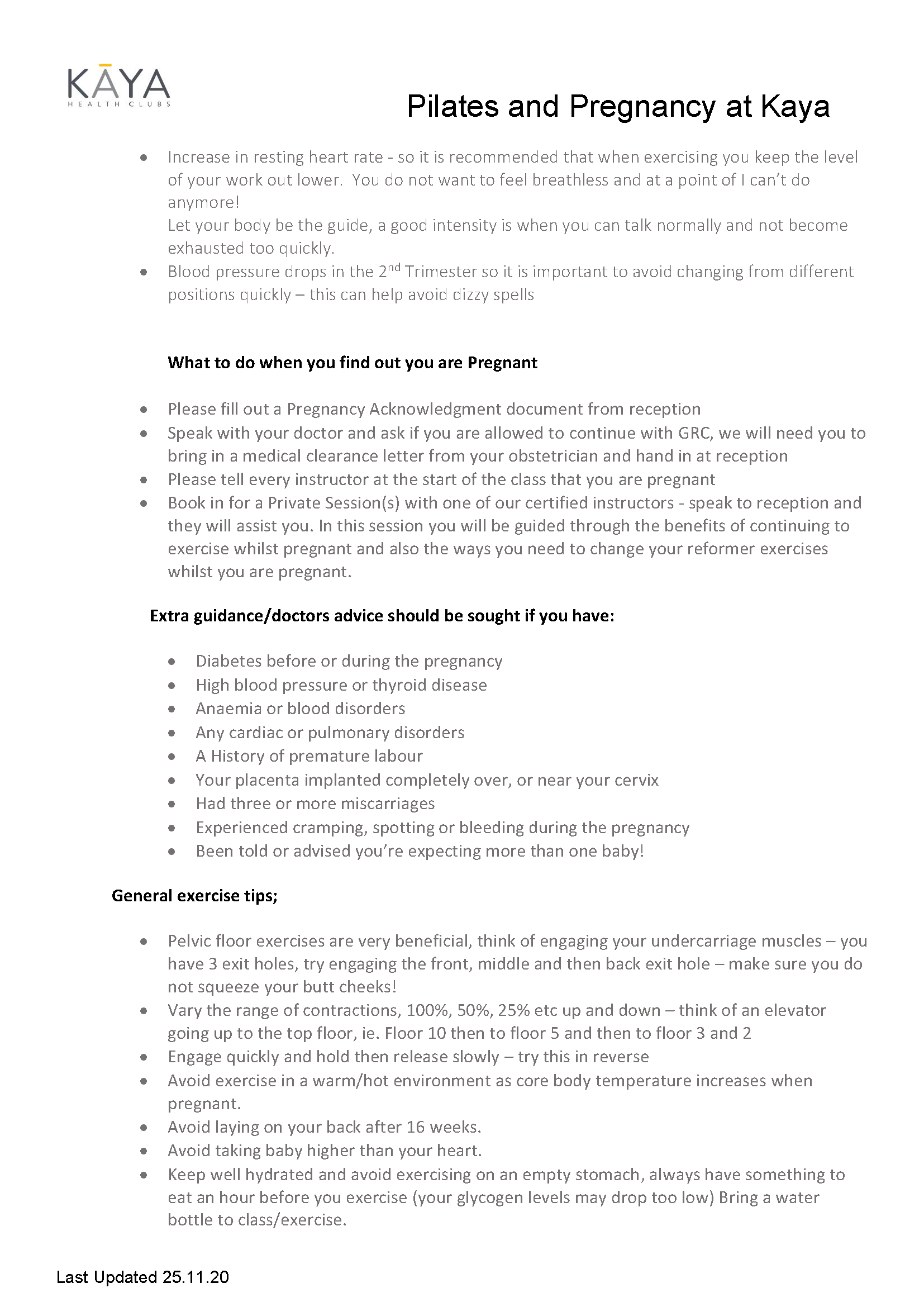 , Pilates Pregnancy Information Pack